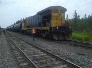 This Montreal Maine and Atlantic train is situated at the location where the train involved in the July 6th tragedy was left idling