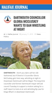 Dartmouth, Nova Scotia Councillor Gloria McCluskey to help seek a ban on late night whistling