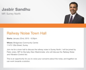 Notice of Surrey, B.C. Town Hall Meeting on Railway Noise